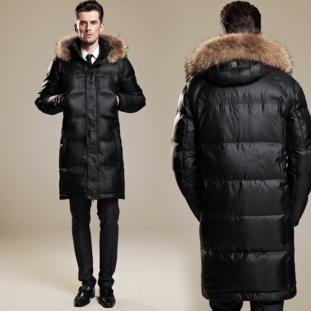 City face winter jacket men Medium long down coat male over the ...