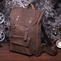 Unisex vintage women backpack crazy horse genuine leather backpack female solid backpack school bags for teenagers