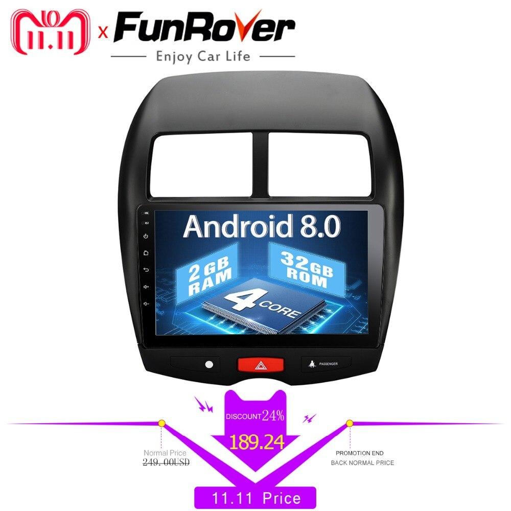 Funrover 9 2 din Voiture dvd Multimédia de voiture radio Android 8.0 pour Mitsubishi ASX 2010-2017 voiture gps navigation Stéréo magnétophone