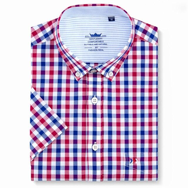 Men's Short Sleeve Plaid Checkered Button Down Casual Shirts Patch Single Pocket Regular-Fit 100% Cotton Thin Summer Dress Shirt