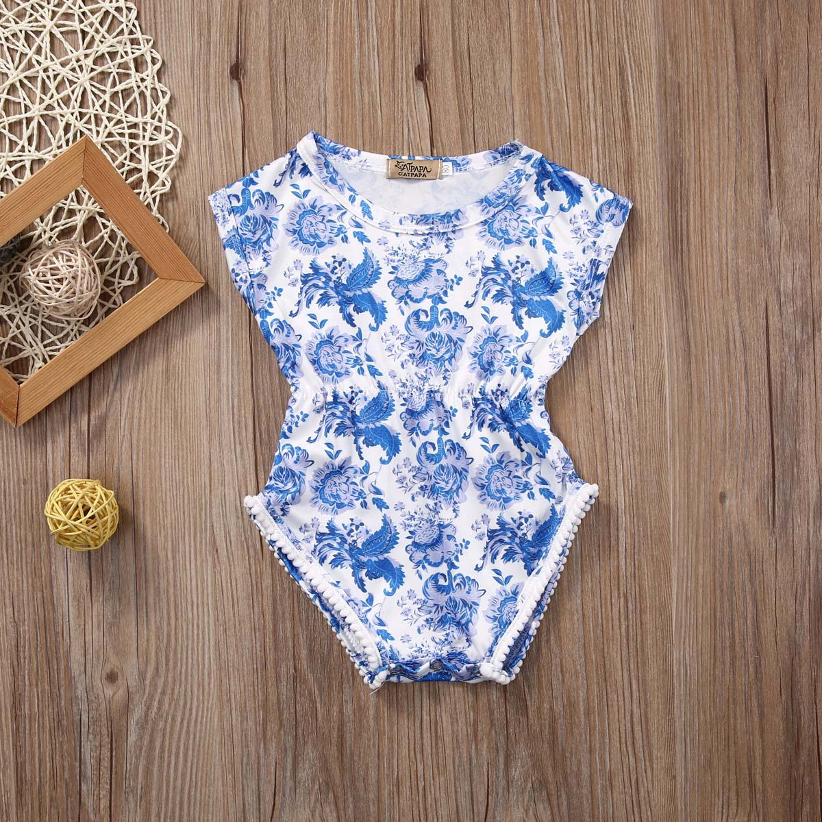 58c0ef7f8cca 2018 New Infant Newborn Baby Floral blue and white Short Sleeve Bebes Girls  Romper Jumpsuit One Pieces Outfits-in Bodysuits from Mother   Kids on ...