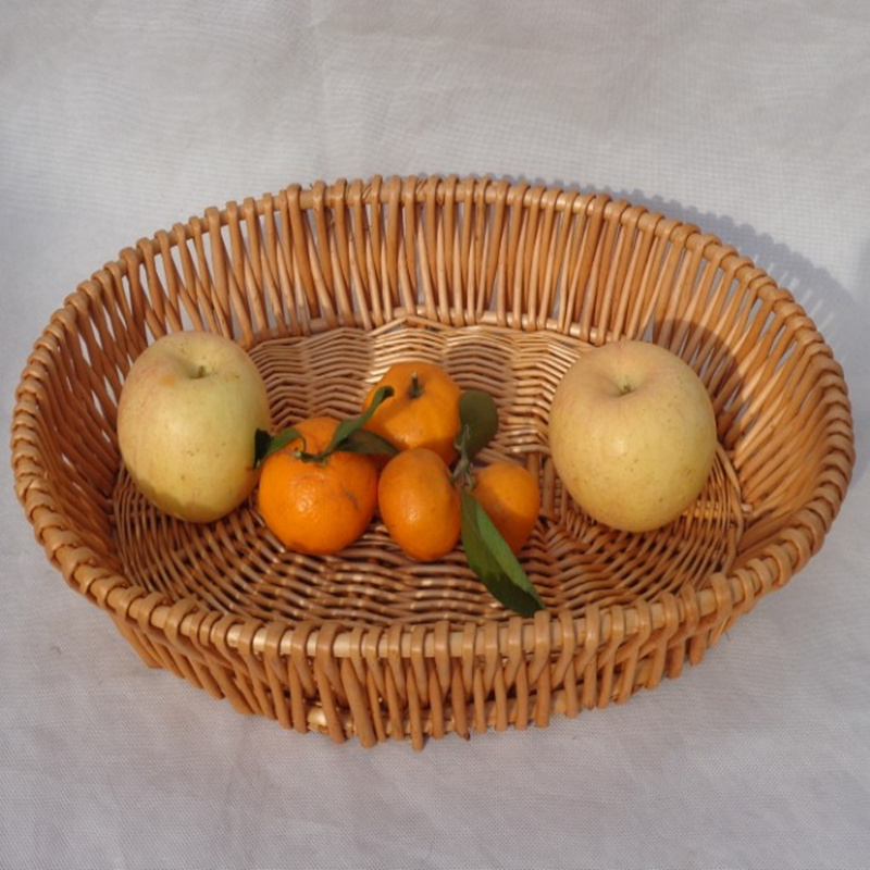 diy oval redondo hecho a mano cesta de mimbre de organizador incorporado sostenedor de la