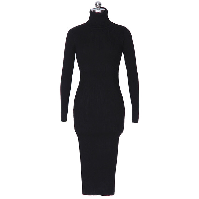 Gamiss Women Autumn Winter Sweater Knitted Dresses Slim Elastic Turtleneck Long Sleeve Sexy Lady Bodycon Robe Dresses Vestidos 5