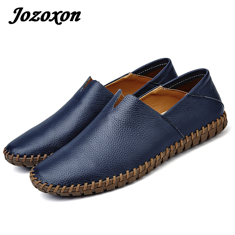Jozoxon Men Genuine Leather Boat Shoes Handmade Outdoor Casual Shoes Loafers Mens Moccasins Shoes Top Leather Shoes Size 38-47 amaginmni brand genuine cow leather mens loafers 2017 fashion handmade mens casual shoes breathable comfortable boat shoes men