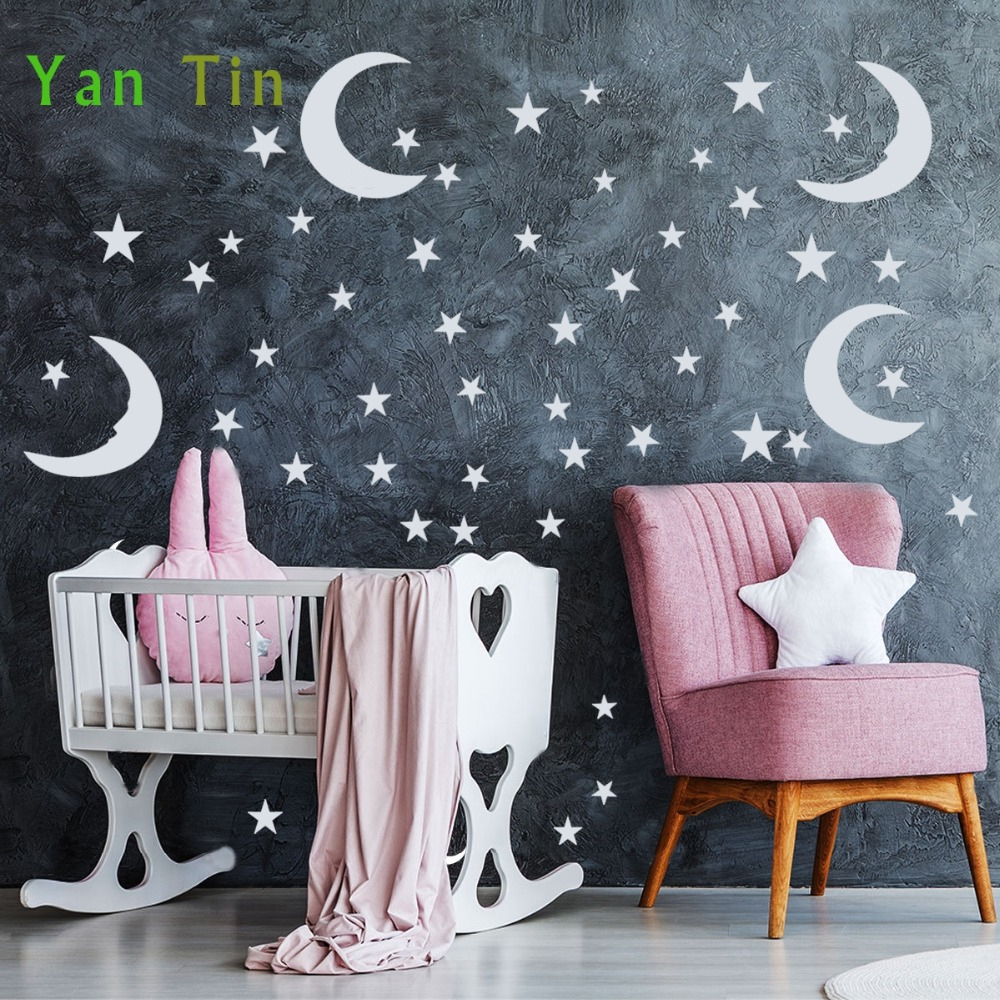Cartoon Mixed Size Stars Moons Shape Wall Stickers For Kids Baby Room Nursery Wallpaper Pvc Removable Diy Starry Art Mural Decor Wall Stickers Aliexpress