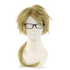 Image 1 - Bungo Stray Dogs Doppo Kunikida Wig Light Brown Short Straight Heat Resistant Synthetic Hair Cosplay Wigs +Wig Cap (no glassess)