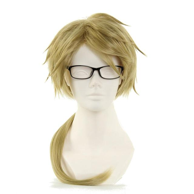 Bungo Stray Dogs Doppo Kunikida Wig Light Brown Short Straight Heat Resistant Synthetic Hair Cosplay Wigs +Wig Cap (no glassess)