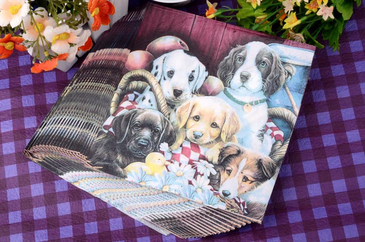 20pcs lot lovely puppy dog soft healthy decoupage napkin paper 100 virgin wood tissue for Christmas wedding party decoration in Disposable Party Tableware from Home Garden