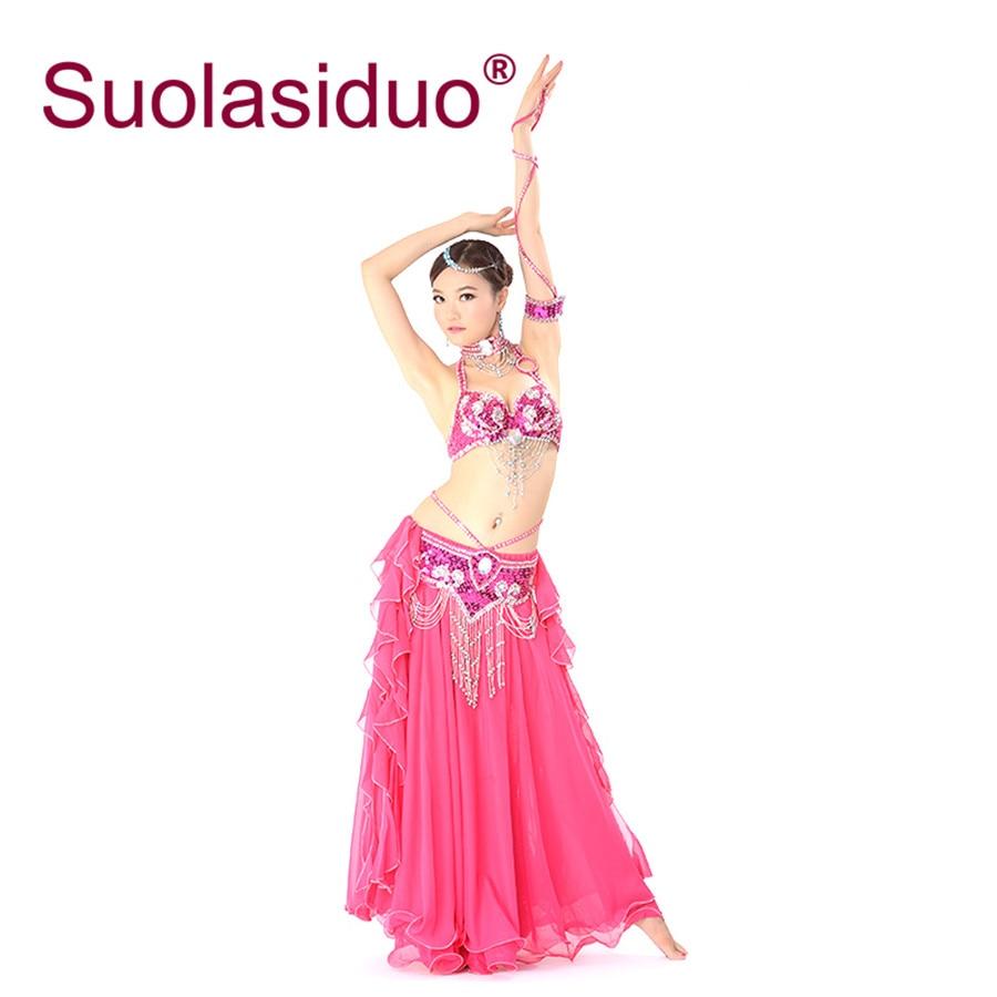 Robe de danse du ventre rouge Rose pour les femmes robe de perles du ventre filles belle Performance danse soutien-gorge ceinture jupe ensembles de vêtements