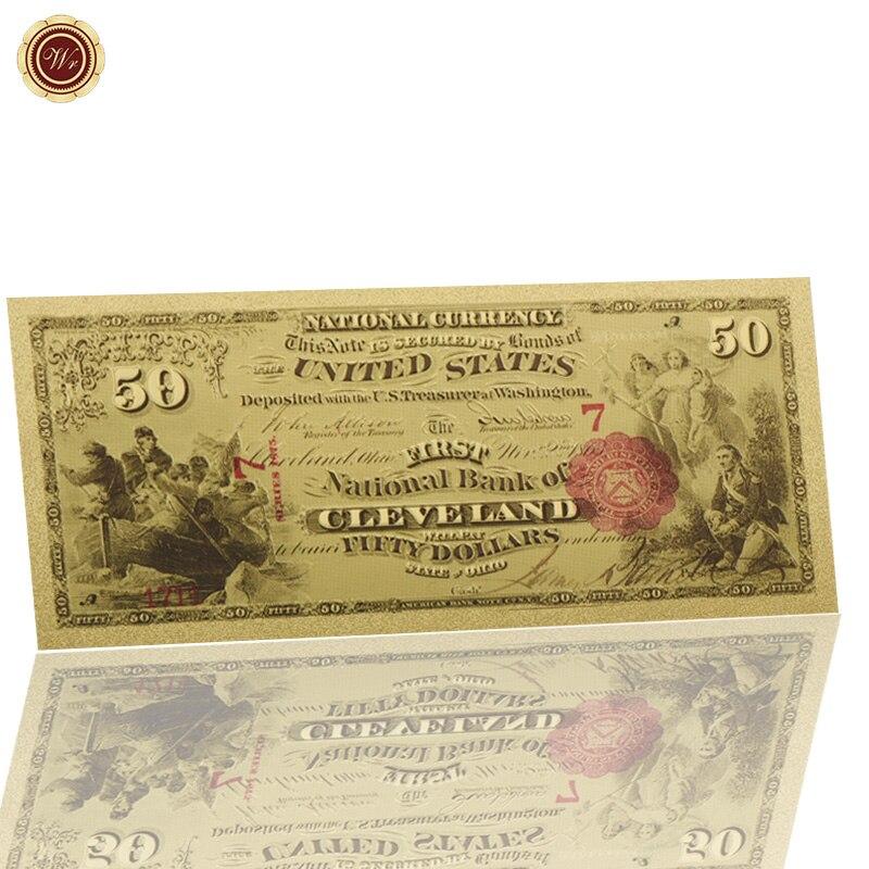 WR 1875 год, 50 долларов, 24k Золотая банкнота, домашняя декоративная бумага, бумага для денег, сувениры, Золотая фольга, купюры для подарка на день...