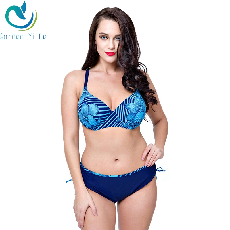 2018 New Arrival Blue Navy Blue Yellow Swimsuits Floral Print Plus Size Biquini Sets Big Bust Maillot De Bain For Women