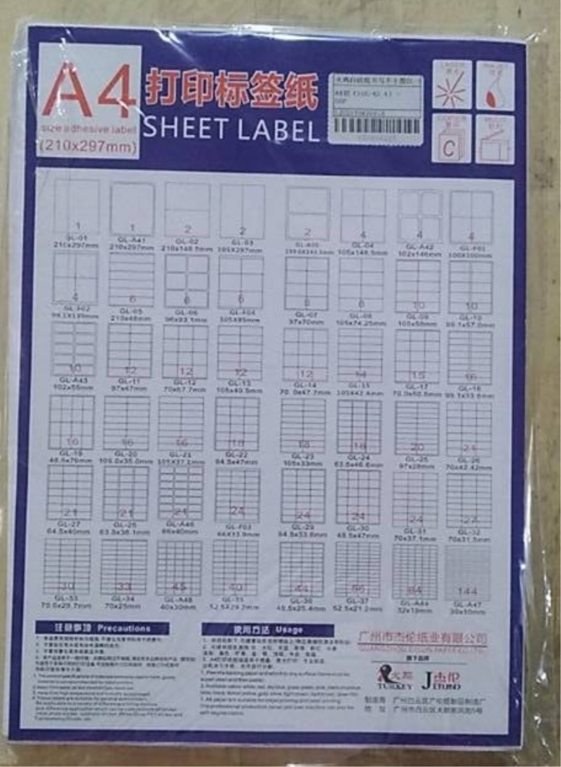 High Quality labels a4
