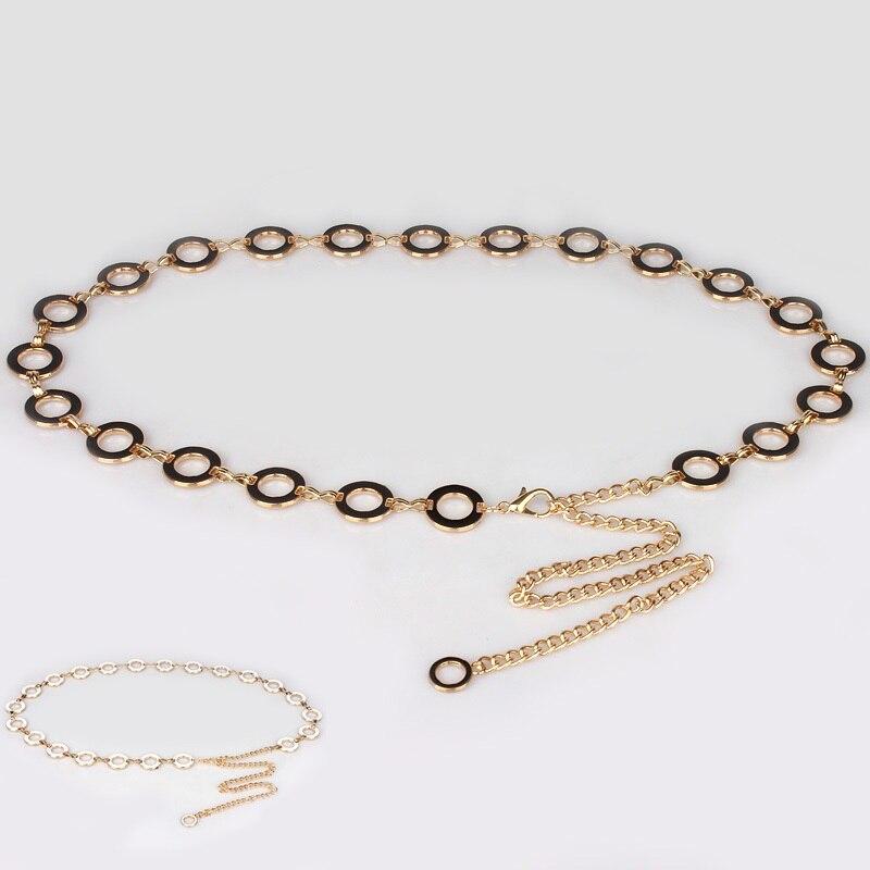 Lady Dress Waist Belt Girls Simple Double-sided Black And White Waistchain Decorative Dress Belt Fashion Metal Belt  B-8518