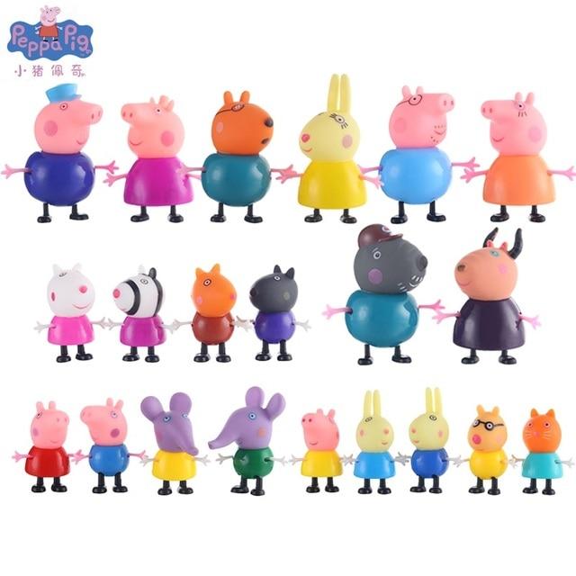 Peppa Pig George Guiné Pacote Mãe Pai Amigo Da Família Figura de Ação Original Pelucia Anime Brinquedos Presente Para As Crianças Porco Cor de Rosa