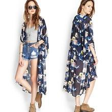 Sakurastore 2017 Spring Vestideo Women Floral Printed Half Sleeve Chiffon Kimono Cardigan Coat Tops shirt Roupas Feminina