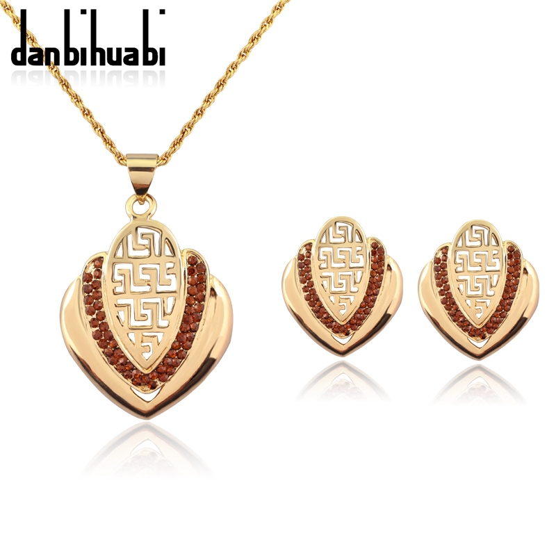 danbihuabi italian retro jewelry sets with Brown crystal design
