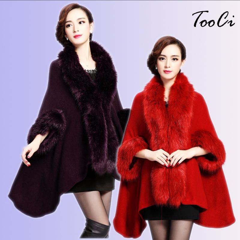 2018 Evropa stil moda zimske ženske plašč iz umetnega krzna Poncho - Ženska oblačila