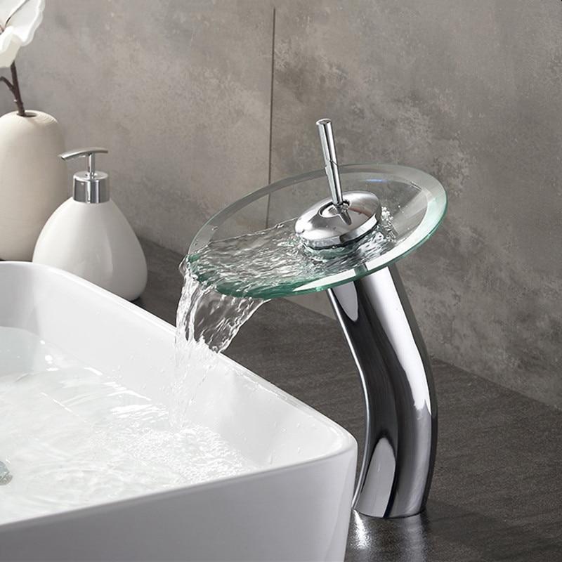 LIUYUE verre bassin robinet cuivre Chrome haut/bas bassin robinets monocommande centres cascade salle de bain évier froid chaud mélangeur robinets