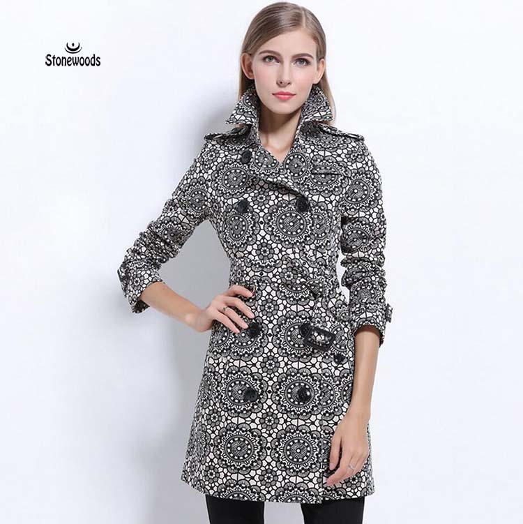 British Style womens quilted coat Burderry Plus Size Long Double Breasted Windbreaker Coat Print Casual Trench