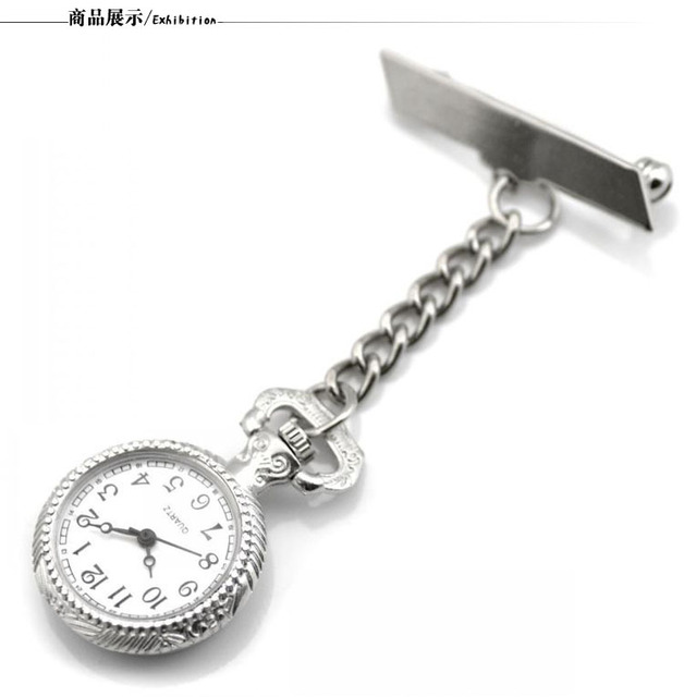 Fashion Simple Silver Pocket Watch Doctor Metal Stainless Watch Nurse Medical Sm