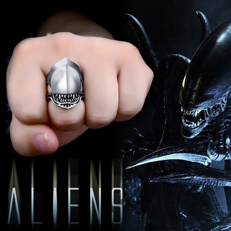 BEIER Movie Stainless steel Alien battle Predator Shark Animal ring Men Fashion party gifts for guests souvenirs 2018 BR8-565 image