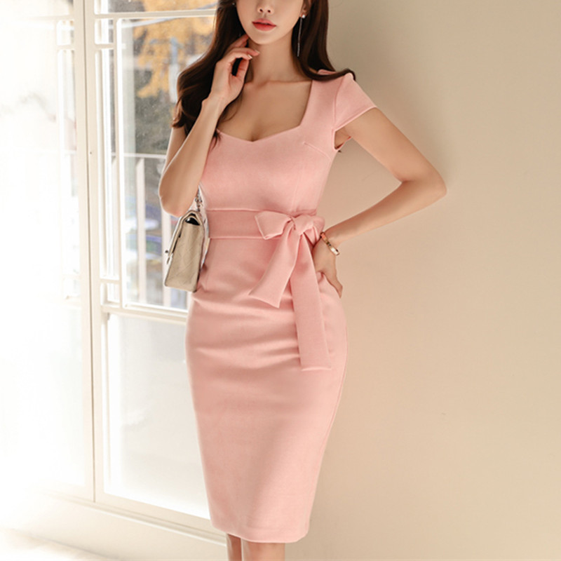 Brief Style 2019 Women Elegant Pink Solid Color Short-Sleeve Square Collar Bodycon Formal Party Dress Summer