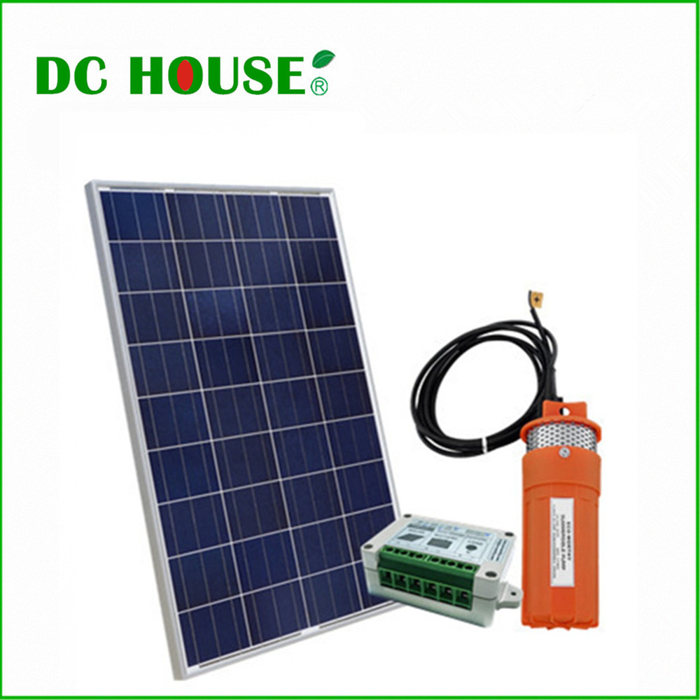 DC HOUSE Solar Powered Pump for Pond 100W Poly Solar Panel with 12V Submersible Well Pump & Mounting Kits for Water Fountain 100w folding solar panel solar battery charger for car boat caravan golf cart