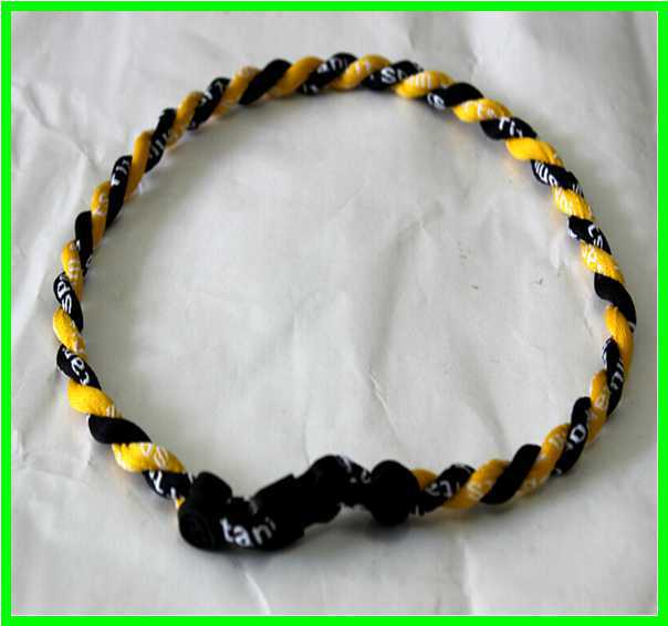 """Lot of 12-20/"""" 2 Rope Twisted Titanium Sport Necklaces Yellow Green"""