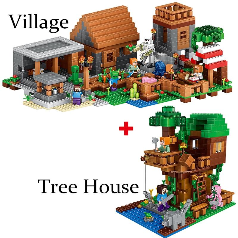 Minecraft My World Village Tree House Mini Farm Cave Figures Building  Blocks Mini Bricks Figures legoinglys Toys For Children