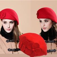 חדשה באיכות גבוהה נשים כומתת כובע צמר כובעי חורף לנשים מוצק צבע רגיל מרגיש חורף הכומתה כובע עם טבעת