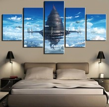 Anime Sword Art Online 5 Pieces Canvas Painting Sky City HD Print Wall For Living Room  Framed Artwork