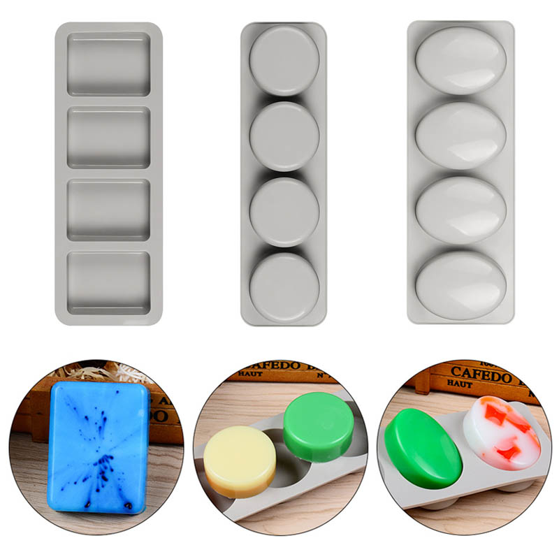 DIY Silicone Soap Mold For Handmade Soap Making Forms 3D Mould Fun Gifts Oval Round Square Soaps Molds  4 Holes