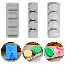 Soap-Mold Square Handmade Round Silicone Oval DIY for 3D Mould Fun Gifts 4-Holes