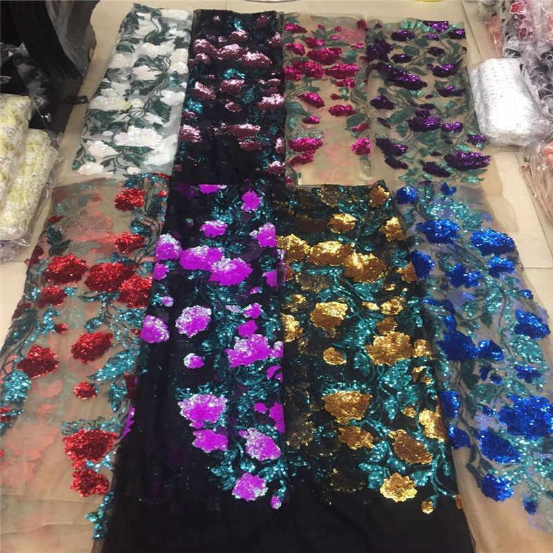 Фиолетовый Зеленый Тюль с блестками ткань 2019 высокого качества африканская Сетка Свадебное платье Шитье расшитое блестками вышитый материал