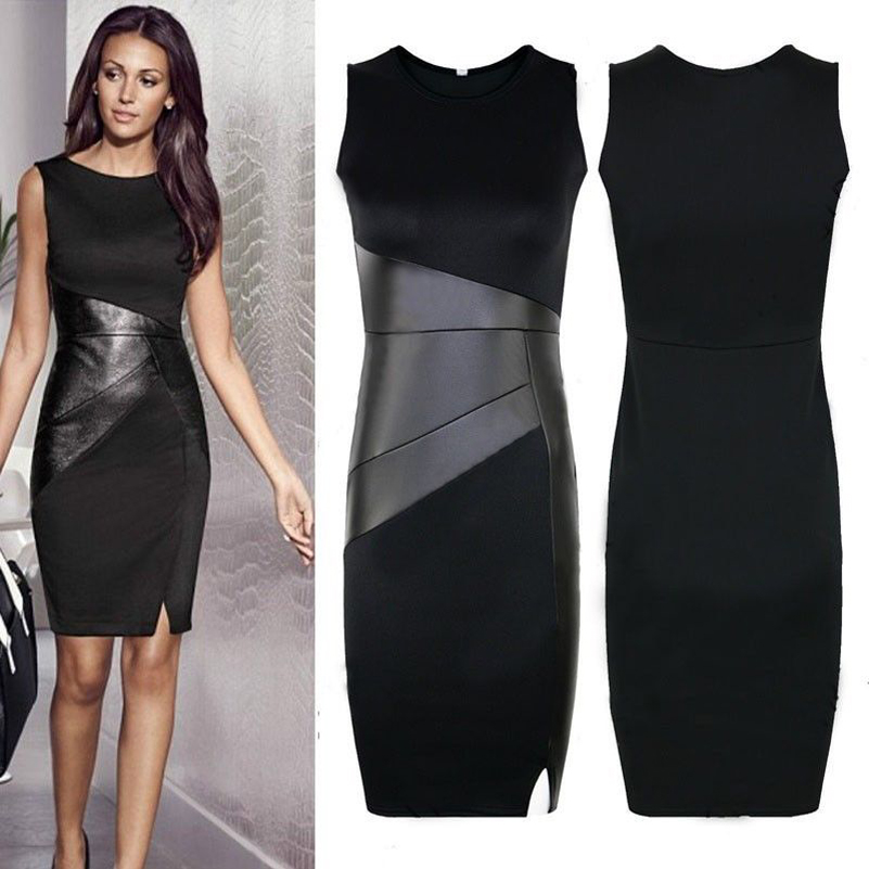 leather patchwork dress New Arrival XXL Ladies Sexy Slim Fashion Mesh Women Clubwear Zipper Black Elegant Slim Pencil Dress