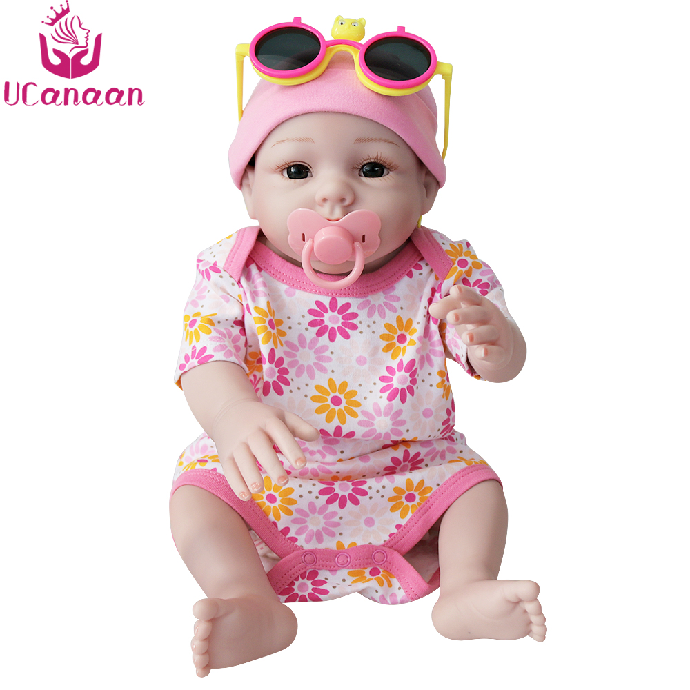 UCanaan 20'' 50CM Soft Silicone Reborn Doll Handmade Girls Dolls Kawaii Baby Lifelike New Born Alive Toys For Children Bonecas kawaii baby dolls