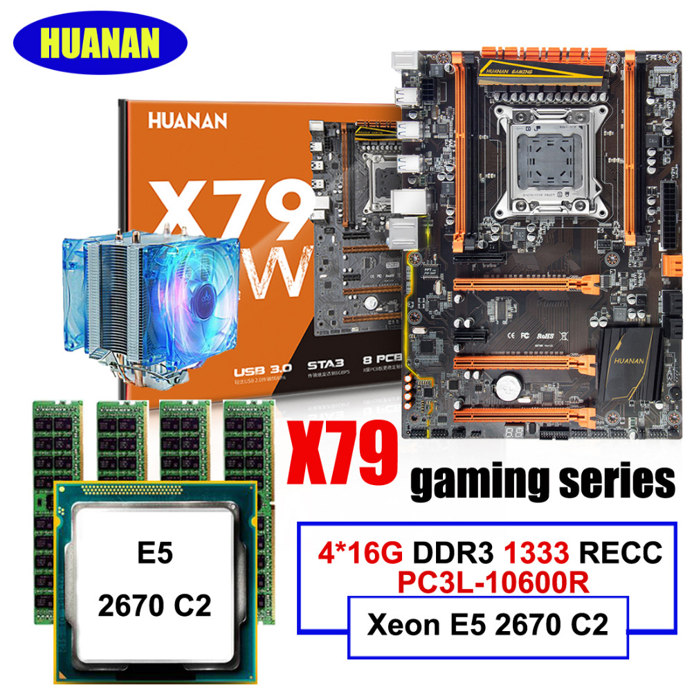 Best seller HUANAN deluxe X79 LGA2011 motherboard CPU RAM Combos Xeon E5 2670 C2 with cooler 64G(4*16G) DDR3 1333MHz RECC термосумка thermos e5 24 can cooler 19л [555618] лайм