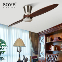60 Inch Village Wooden Ceiling Fan With Light 2 Blade DC Motor Wood Ceiling Fans Without Light Decorative Ceiling Light Fan Lamp