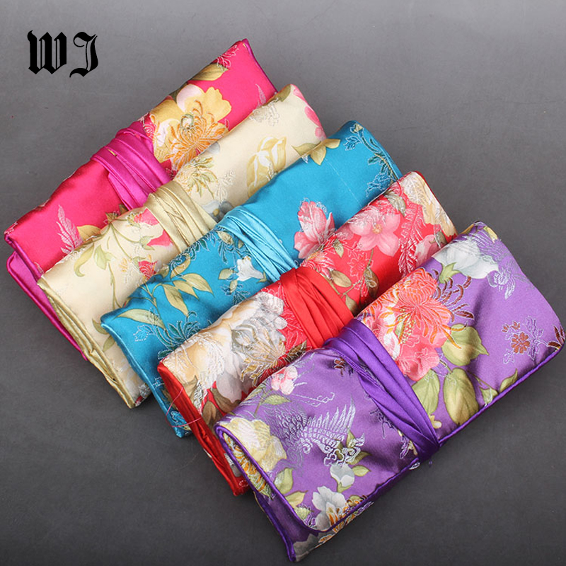 Portable Silk Cosmetic Set Jewelry Travel Rolls Pouch Gift Bag Coin Purse Vintage Embroidery Jewelry Organizer Handbag 3 Zippers