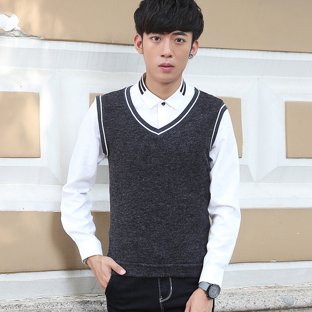 TG6074Cheap wholesale 2016 new Men in the autumn of elastic youth render sweater v-neck vests cultivate one's morality