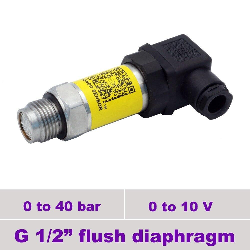 g1 2 inch flush thread pressure transducer, 0 10 v signal pressure sensor, 40 bar gauge range, stainless steel 316L wetted parts
