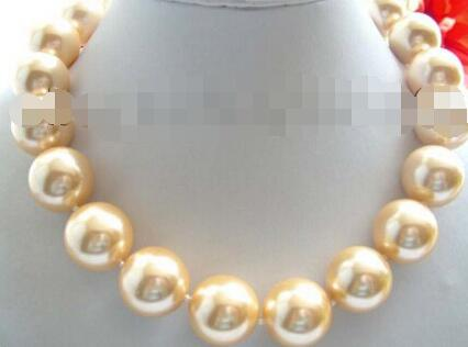 18 Natural 20mm Yellow Round Sea As Seashell Pearls Chains and Necklaces! ^^^ @ ^ Noble Style Natural Fine