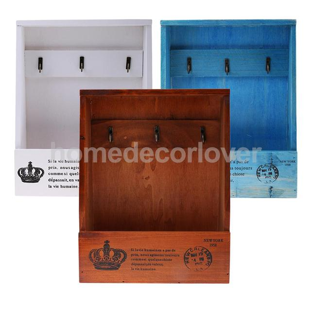 Retro Wall Mount Key Rack Storage Box Shelf Wooden Cabinet Cubby Letter Mail Holder Case