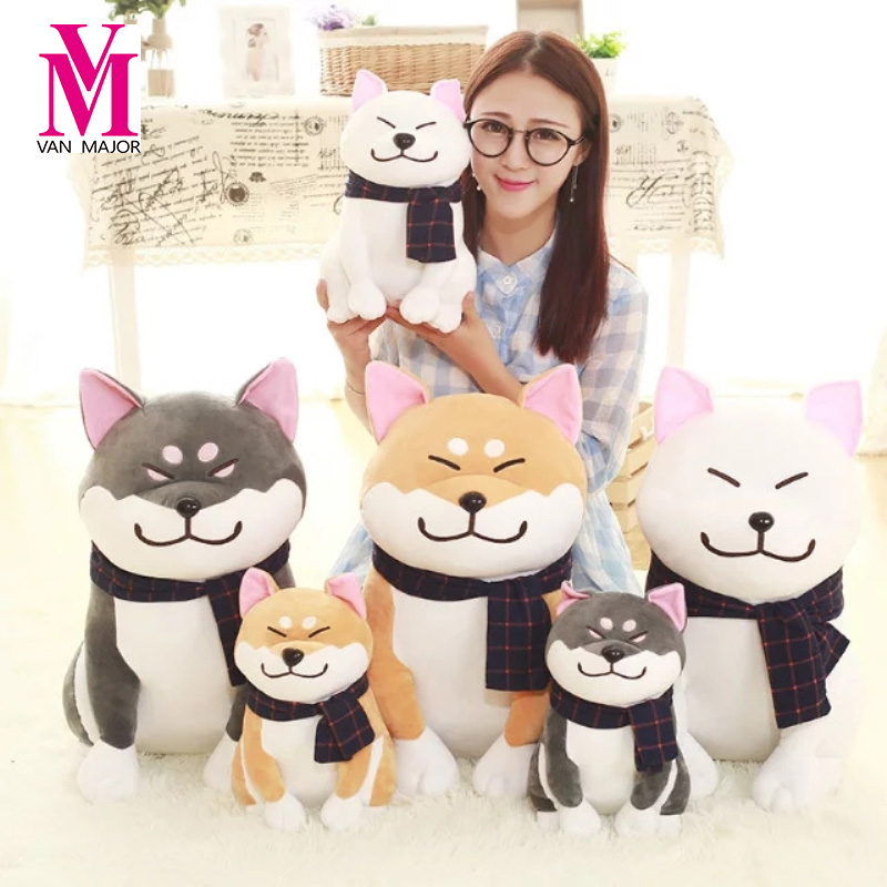 1PC Wear scarf Shiba Inu dog plush toy soft stuffed dog toy good valentines gifts for girlfriend 25cm/9.84'' qwz1pcs 25cm cute wear scarf shiba inu dog plush toy soft animal stuffed toy smile akita dog doll for lovers kids birthday gift
