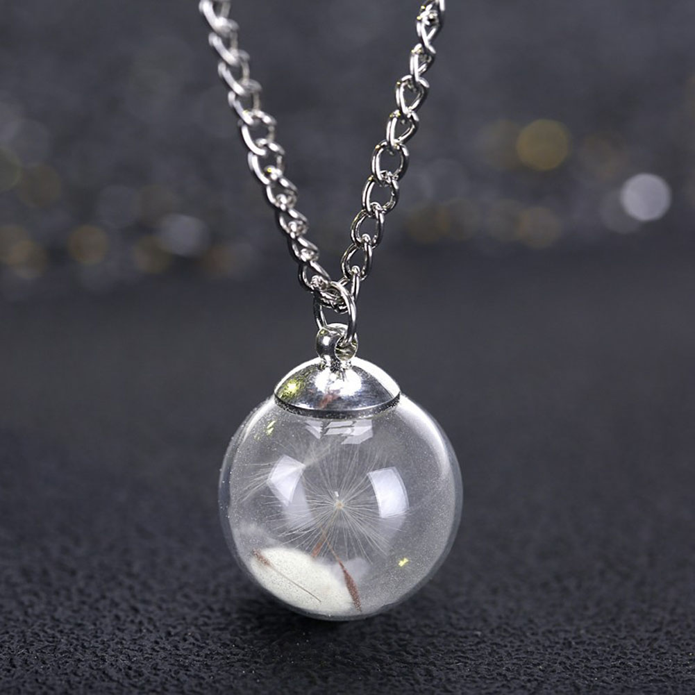 Fashion Charm Collier Femme Dry Flower Dandelion Glass Ball Pendant Link Chain Necklace Glowing Wishing Ball Jewelry