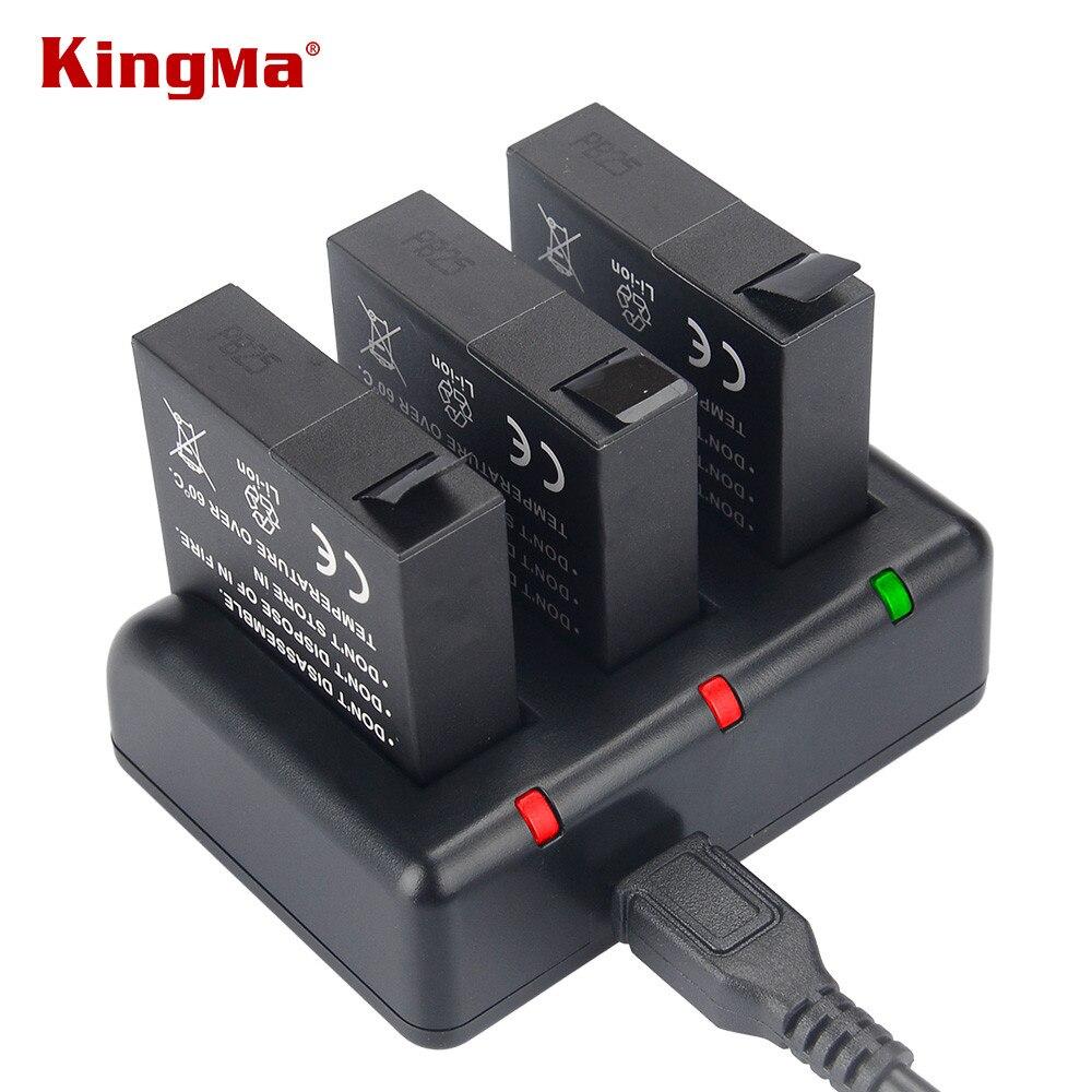KingMa AZ16-1 batterie de remplacement (paquet de 3) et chargeur USB 3 canaux pour Xiaomi YI AZ16-1 et Xiaomi Yi 4 K caméra d'action