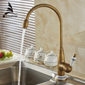 Free shipping new style antique brass finish faucet kitchen sink basin faucets mixer tap with ceramic hot and cold  4116F