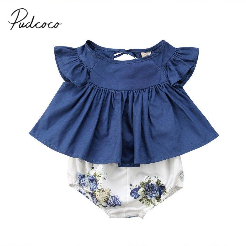 2019 bebê roupas de verão bonito recém-nascido infantil bebê menina topos camisas vestido floral harem pp calças curtas floral 2 pçs conjuntos
