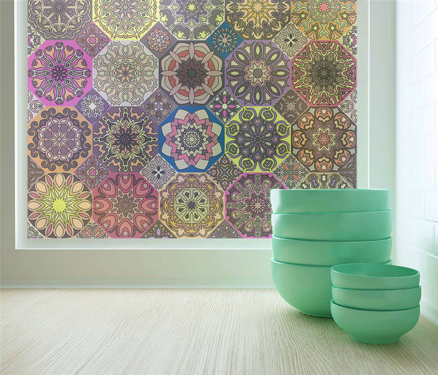 Geometric patterns sliding door custom opaque electrostatic frosted glass film bathroom window transparent wall sticker aa86
