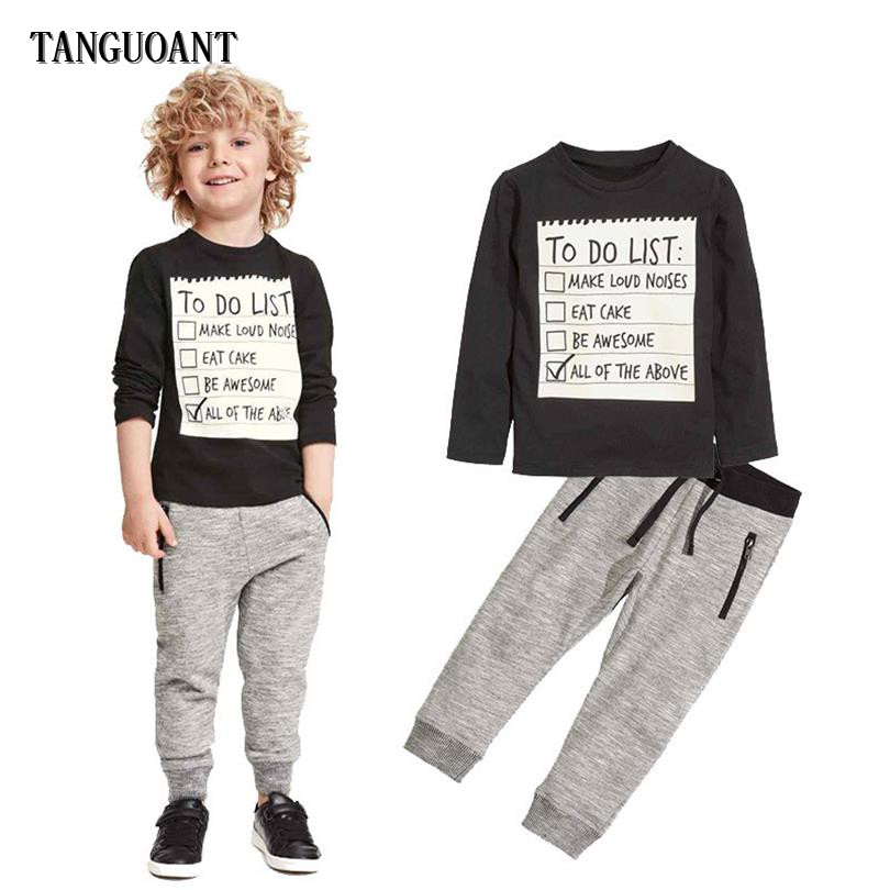 1f346c34fe76c TANGUOANT Toddler Baby Boy Clothes Set Letter Long Sleeves Kids Clothes  Children Outfits Set Cotton Tracksuit T-shirts+Pants